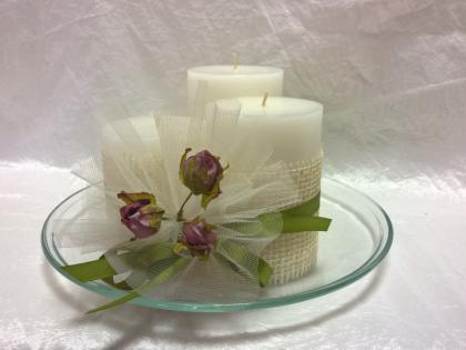 Centrotavola tre candele raffinato