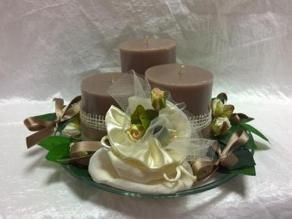Centrotavola tre candele elegante